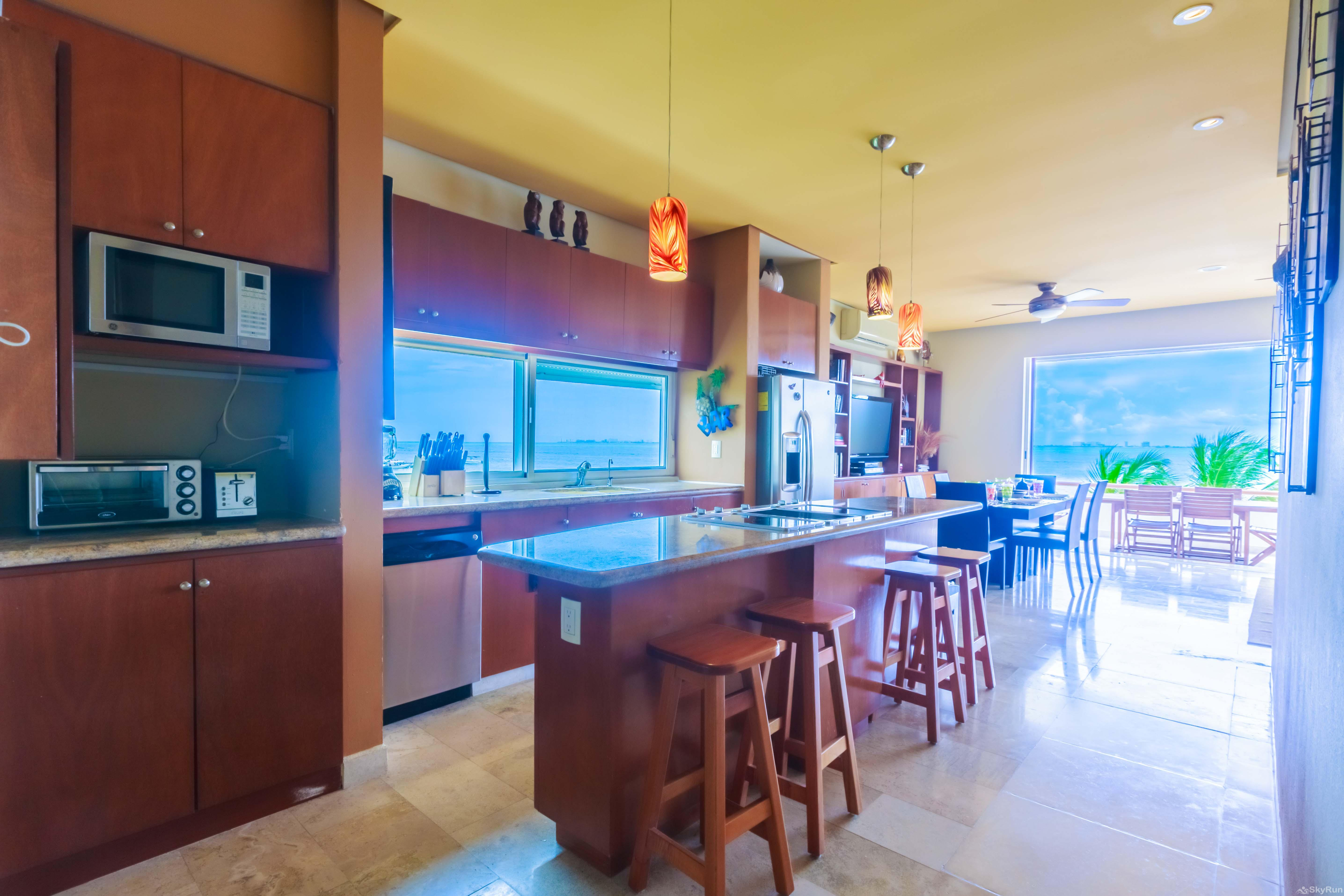 Coral Three Bedroom Oceanfront Residence Ample kitchen